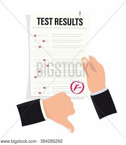 Hand Holds Examination Sheet With Bad Mark. Bad Exam Mark. Exam Result, Grade Mark F Minus. Thumbs D