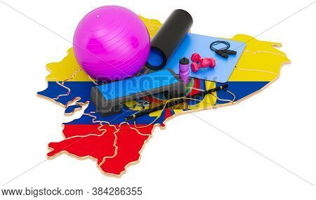 Fitness In Ecuador. Gym Equipments On Ecuadorian Map. 3d Rendering Isolated On White Background