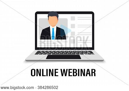 Online Training In Laptop. Educational Learning Courses. Webinar Concept. Distance Education, E-lear
