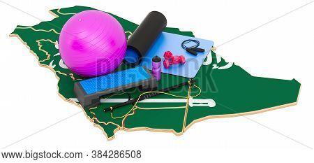 Fitness In Saudi Arabia. Gym Equipments On Saudi Arabian Map. 3d Rendering Isolated On White Backgro