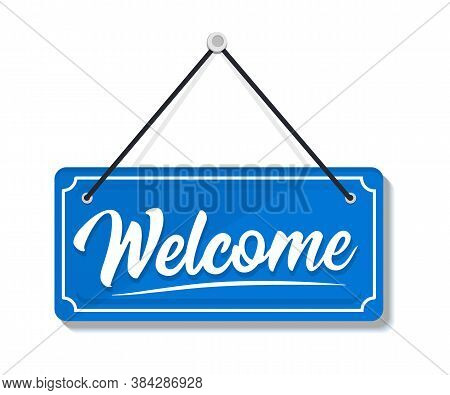 Welcome - Hanging Door Sign Isolated On Transparent Background. Signboard Welcome. Hanging Sign For