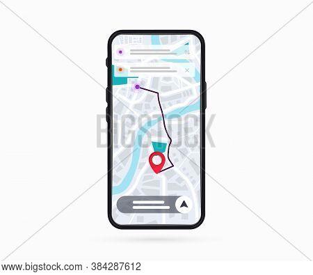 Mobile Phone With Digital Gps Navigation. Map With Point. Mobile Gps Navigation App On Touch Screen