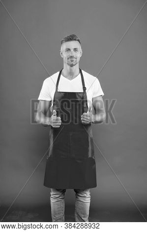 Male Chef Cook In Red Apron. Businessman Wear Apron In Coffee Shop. His Favorite Work. Portrait Of H