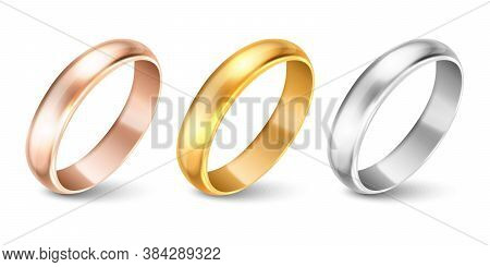 Vector 3d Realistic Gold And Silver Metal Wedding Ring Icon Set Closeup Isolated On White Background