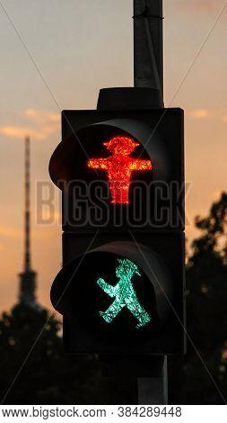 Green Ampelmann Traffic Signal. Symbol Traffic Light For Pedestrian Crossings. Street Traffic Light