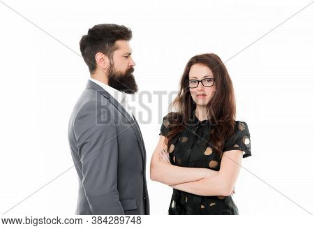 Nothing Personal Just Business. Couple Colleagues Man With Beard And Pretty Woman On White Backgroun