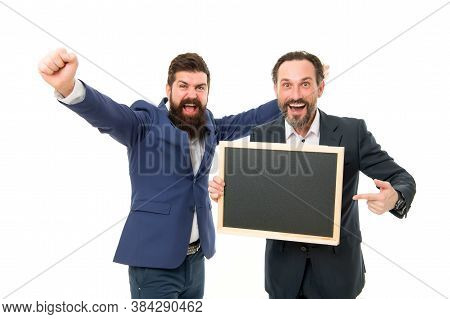 Advertising Award Winners. Happy Winners Celebrate With Blackboard. Businessmen Make Winners Gesture