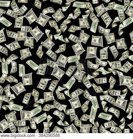 Dollar Seamless Money Background. One Hundred Dollars Of America. Usd Cash Money Isolated On Black.