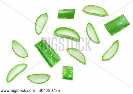 Aloe Vera Sliced Isolated On White Background. Top View. Flat Lay.