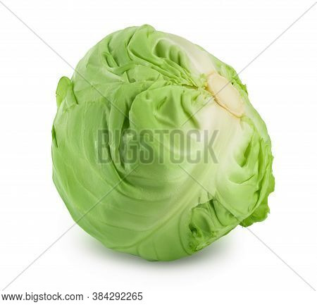 Green Cabbage Isolated On White Background With Clipping Path And Full Depth Of Field