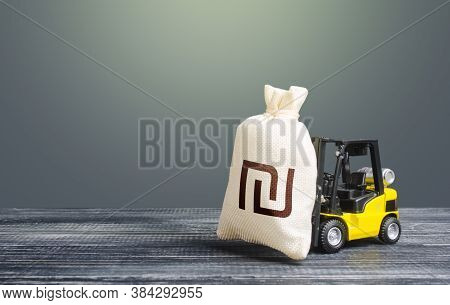 Forklift Transports A Israeli Shekel Money Bag. Attraction Of Investments In Business And Economy, C