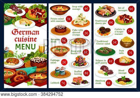 German Food Restaurant Menu Template. German Cuisine Meals With Pork Pork Meat, Traditional Bavarian