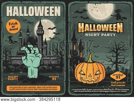 Haunted House With Halloween Pumpkin, Zombie Hand, Witch And Bat, Trick Or Treat Night Party Vector