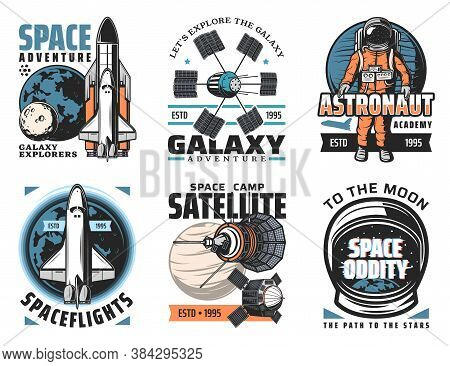Space And Planets Exploration Vector Icons. Shuttle Launch Vehicle And Orbiter With Solar System Pla