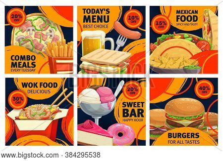 Fast Food Combo Meals Sale Promo Posters. Vector Pizza, Cheeseburger And French Fries With Sandwich