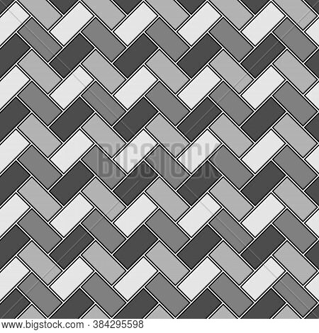 Herringbone Pattern. Rectangle Slabs Tessellation. Seamless Surface Design With Slanted Blocks Tilin