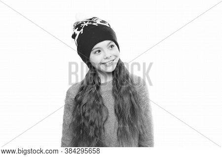 Static And Frizz. Adorable Child Long Hair Soft Fur Hat. Child Care Concept. Anti Static Hair Produc