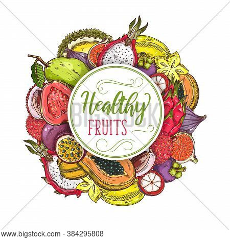 Exotic Fruits Round Banner, Vector Sketch Pitahaya, Mangosteen And Passion Fruit, Papaya, Figs And D