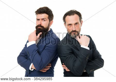 Brainstorming. Serious Businessmen Isolated On White. Business Partners With Serious Look. Bearded M