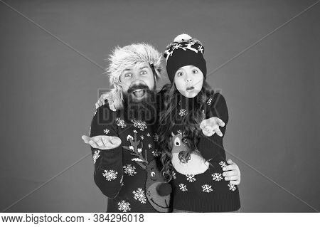 Merry Christmas. Father Daughter Winter Sweaters Celebrate New Year. Happy Family Hug. Bearded Man A