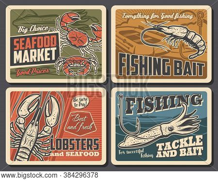 Shrimp, Lobster And Cuttlefish Seafood Vector Retro Posters. Fishing, Fisherman Equipment Tackles, F