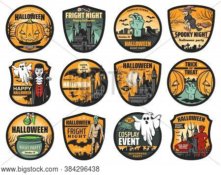 Halloween Pumpkin, Ghost And Zombie Vector Badges. Horror Night Haunted Houses With Bats, Moon And W