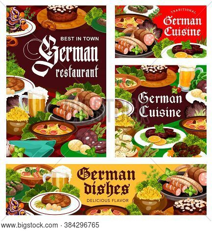 German Cuisine Restaurant Meals Banners. Hamburg Steak And Blood Sausage, Cheese, Potato And Cabbage