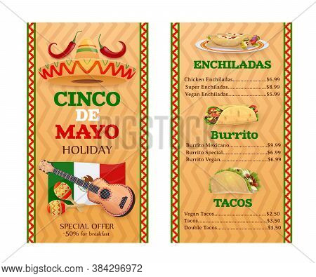Mexican Cuisine Vector Menu. Cinco De Mayo Holidays Meals Tacos, Burrito, And Enchiladas Mexican Foo
