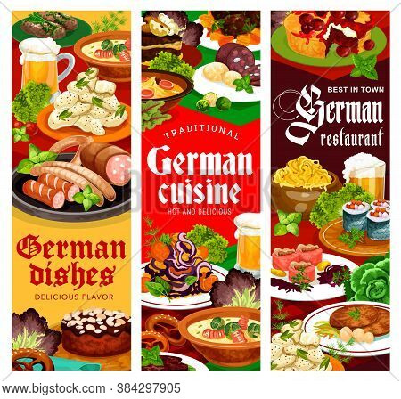 German Restaurant Dishes Vector Banner. German Soup With Sausages And Stuffed Herring Rollmops, Cabb