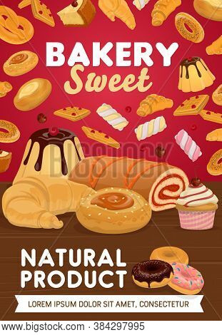 Sweets, Desserts And Patisserie. Bakery Shop Vector Pastry Cake, Waffles And Croissants, Buns And Do