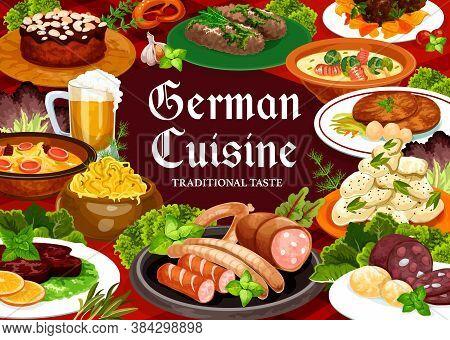 German Cuisine Food Vector Banner. Hamburg And Bavarian Steak, Pork Rolls, Soup With Bacon, Cheese A