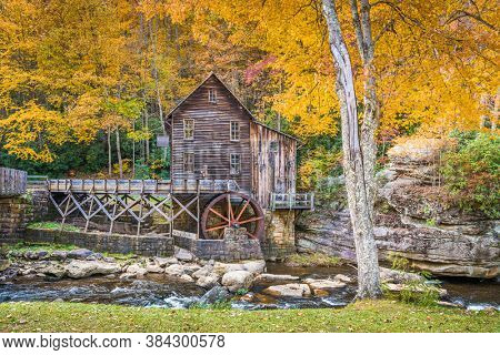 Babcock State Park, West Virginia, USA at Glade Creek Grist Mill during autumn season.