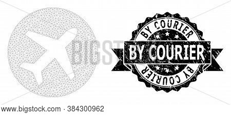 By Courier Grunge Seal Print And Vector Airport Mesh Model. Black Seal Has By Courier Tag Inside Rib