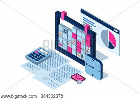 Time Management, Business Strategy, Planning Concept. Vector 3d Isometric Illustration Of Schedule M