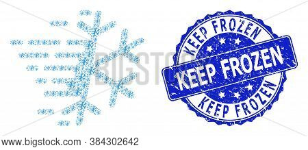 Keep Frozen Grunge Round Seal And Vector Recursion Collage Frost Snowflake. Blue Seal Includes Keep