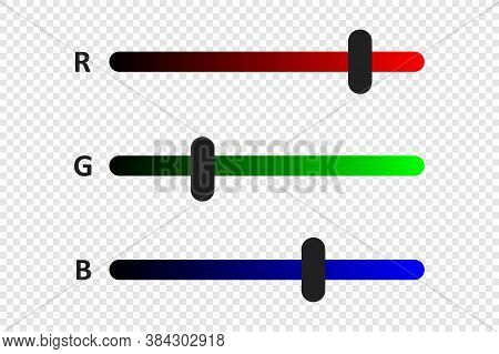 Rgb Color Concept Illustration. Horizontal Indicator Ruler Bar Icon In Flat