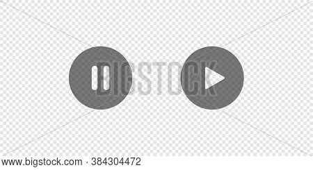 Play And Pause Simple Isolated Button, Icon Set On Transparent Background. Video Symbol Concept In V