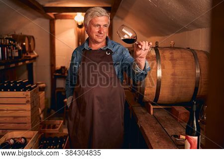 Male Winemaker In Apron Holding Glass Of Red Wine