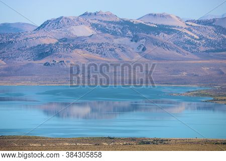 Arid Desert Mountains Surrounding Mono Lake, Ca Which Is An  Important Lake With Migratory Birds And