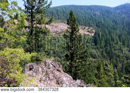 Volcanic Rocks Surrounded By An Alpine Forest Taken At The Sierra Buttes In The Northern Sierra Neva