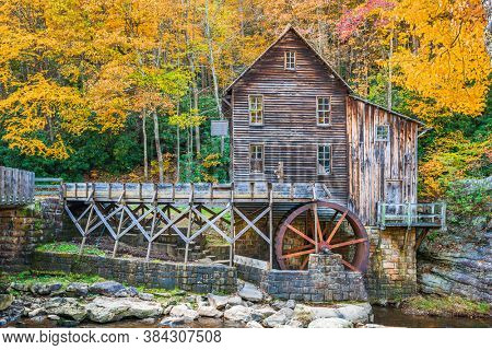 State Park, West Virginia, USA at Glade Creek Grist Mill during autumn season.