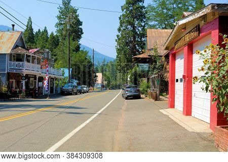 September 4, 2020 In Sierra City, Ca:  Main Street Thru The Quaint Town Of Sierra City, Ca Including