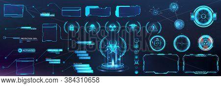 Digital Set With Hud Elements (callouts Titles, Holograms Projectors, Circle Sky-fi Gadgets, Frames)