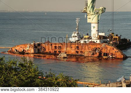 Oil Tanker Delphi Crashed Near Black Sea Coast In Ukraine, Odessa 26 August 2020. Small Tanker, Rust