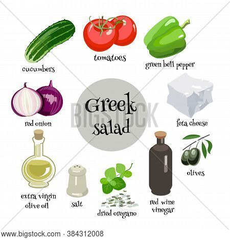 Set Of Greek Salad Ingredients. Tomatoes, Red Onion, Cucumbes, Green Pepper, Olives, Feta Cheese, Ol