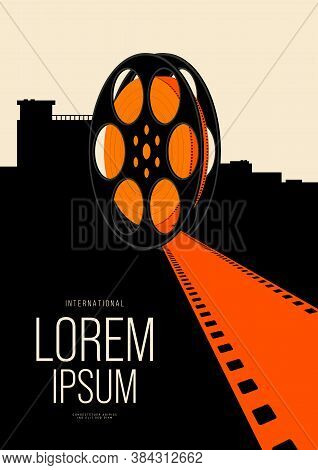 Movie And Film Poster Design Template Background With Vintage Filmstrip And Cityscape. Can Be Used F