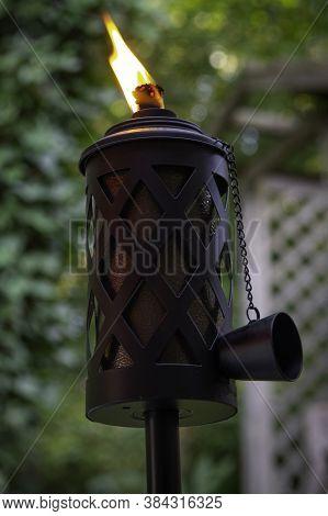 Tiki Torch Burning Smoke Green Black Bamboo