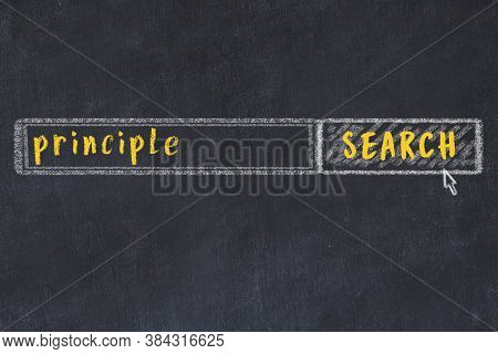Drawing Of Search Engine On Black Chalkboard. Concept Of Looking For Principle
