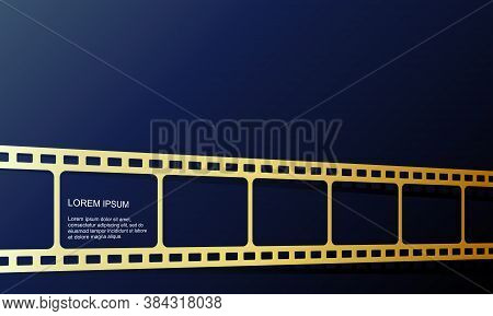 Vector Illustration Of Gold Color Film Roll. Perfect To Use For The Background Of A New Movie Video