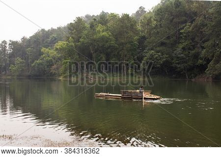 Thai Rower Waterman Rowing Bamboo Rafts In Pang Ung Lake For Service Travelers People Travel Visit P